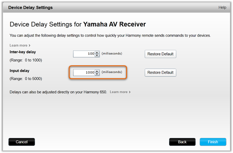 MyHarmony - Change device settings