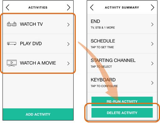 Harmony app - delete activity