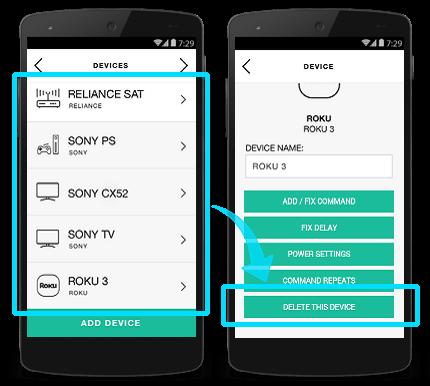 Harmony app - delete device