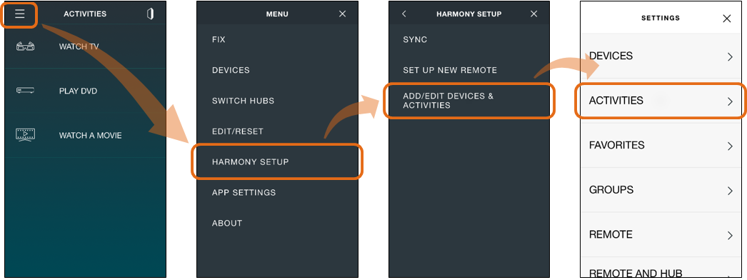 Harmony app - edit activity