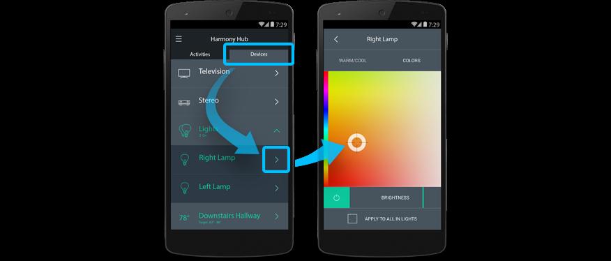 Harmony app Control LIFX Lights