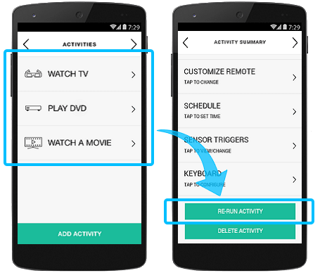 Harmony app - re-run activity