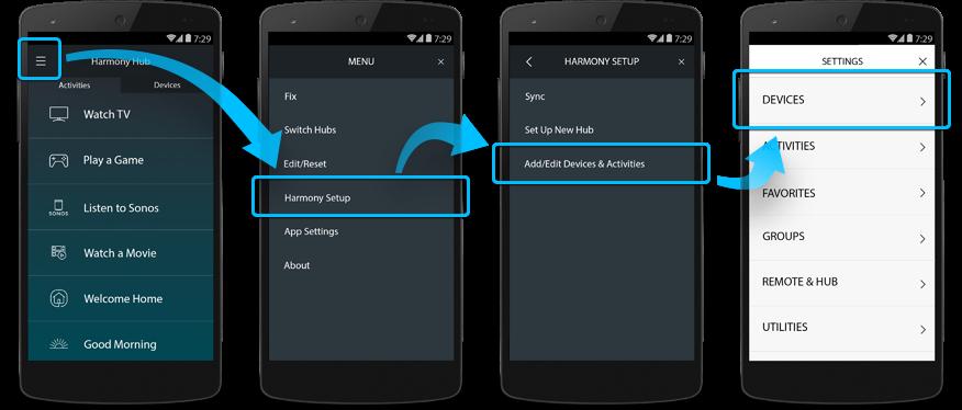 Harmony-App– Gerät bearbeiten