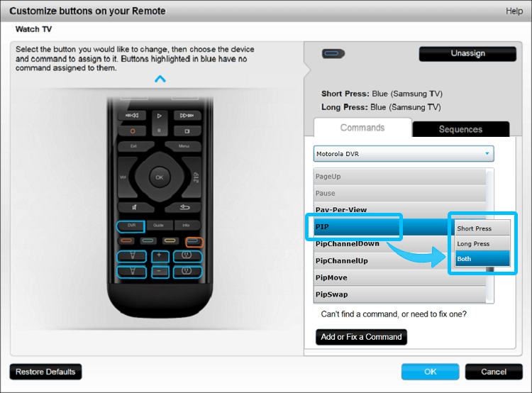 Customize Remote Buttons