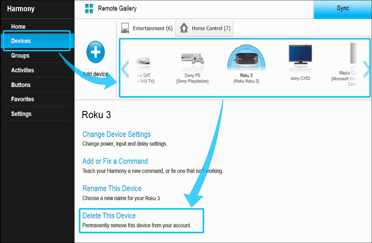 Harmony-Desktop-Software– Gerät löschen