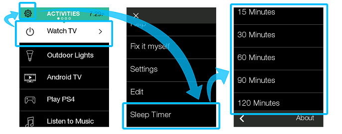 Sleep timer on remote