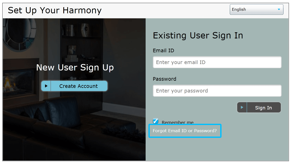MyHarmony forgot password