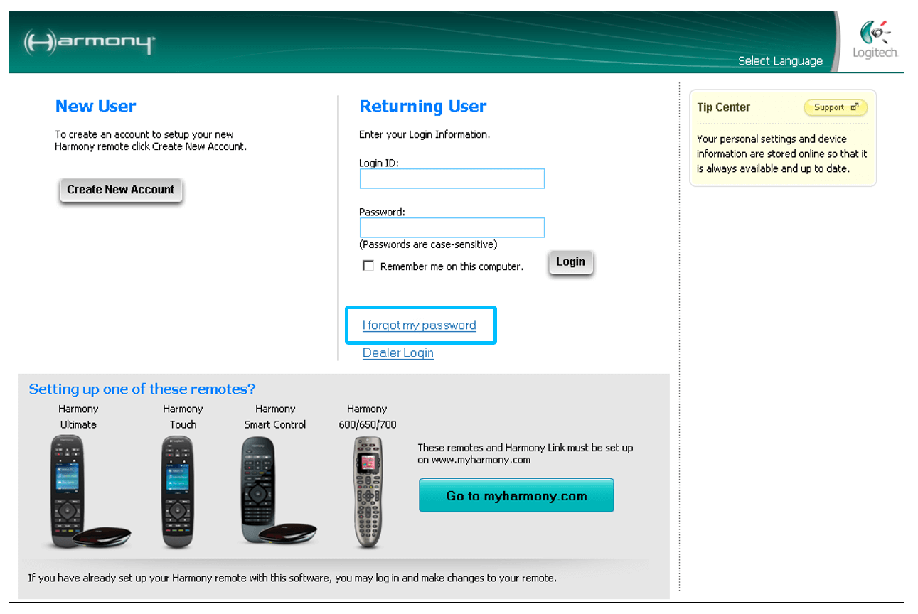 Logitech Harmony software forgot password